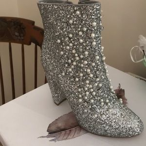 Jessica Simpson Silver Glitter Booties